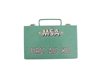 Vintage MSA Safety Equipment Headquarters Green Metal First Aid Kit Box Wall Hanging