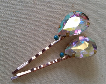 SALE * Gold Tone Bobby Pin/Hair Clip  with Acrylic AB crystal-inspired bead/stone- Eco Chic Hair Accessory