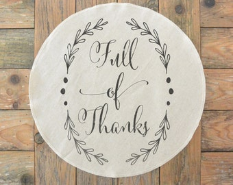 Full of Thanks Round Placemat_table setting, tableware, place setting, housewarming gift, party, dinner, event, thanksgiving, fall