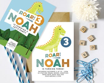 Dinosaur Birthday Party Invitations (Personalised DIY Printables)