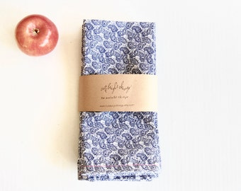 Handmade Cotton Napkins in Blue Paisley (set of 4)
