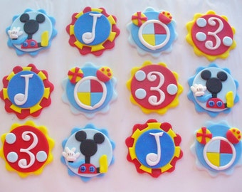 12 MICKEY MOUSE CLUBHOUSE  Edible Fondant Cupcake Toppers Personalized