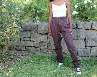 Vintage High Waist Brown Denim Tapered Jeans