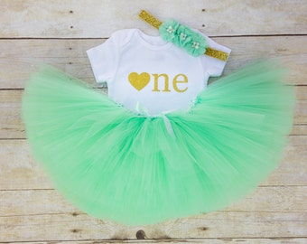 Mint and Gold First Birthday Outfit...Baby Girl 1st Birthday Outfit...Birthday Tutu Outfit...Mint Green Tutu...1st Birthday Outfit Girl...