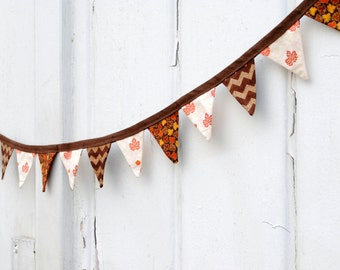 Mini Fabric Fall Leaves Leaf Brown Orange Pennant Banner Fabric Bunting