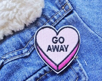 Go Away Love Heart Candy Sweets Denim Back Patch