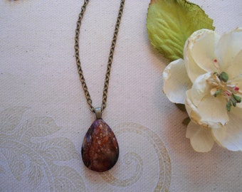 Fall colors sea sediment Jasper teardrop antique brass necklace nickel and lead free