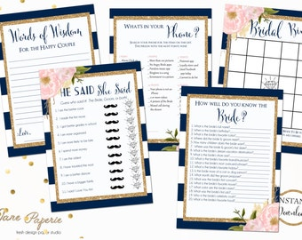 INSTANT DOWNLOAD - Navy Stripe Pink Peony Floral BRIDAL Games Package - Printable Bridal Shower Games - Floral Game Pack - 0147