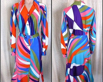 Love Sale 25% off LOLA KAY 1960s Op Art Print Blouse Skirt 2-pc dress // fits S-M // 60s Belgium Mod Era