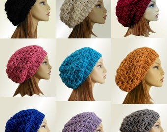 Slouchy Beanie Hat Custom Colors Wool Knit Crochet Slouch Festival Hat Concert Clothing Beany Choose Your Color