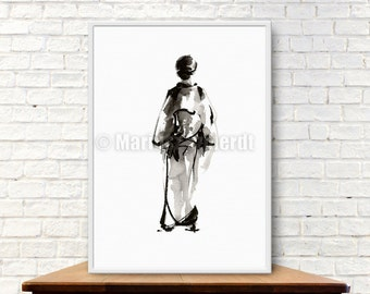 Geisha, Japanese Woman, Asian Beauty, Surreal Portrait, Minimalist Art, Sumi-e, Zen, Zen Art, Zenga, Abstract Art