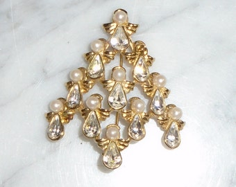Vintage Gold Tone Metal Angel Christmas Tree Pearl Rhinestone Brooch