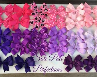 Hair Bow Set, Pigtail Hair Bows, Pink Hair Bows, Purple Hair Bows, Boutique Hair Bows, Baby Bows, Toddler Bows, hair bow bundle