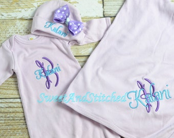 Personalized Baby Blanket purple, Baby girl layette gift set, mongrammed newborn gown, personalized baby blanket and newborn hat lavender