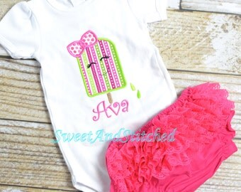 Girls summer popsicle shirt personalized, girl summer tee, baby girls 4th of july shirt - Popsicle summer shirt for girls, 4th of july tee