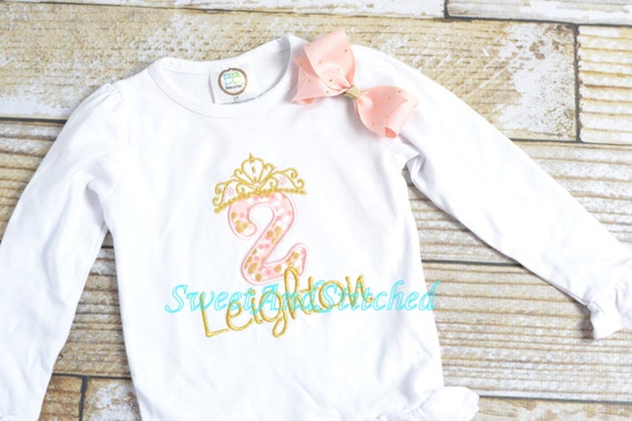 Pink and Gold birthday Shirt in princess theme, princess 1st 2nd 3rd 4th 5th 6th birthday shirt, Pink and Gold Princess shirt