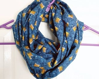 Where the Wild Things Are eternity scarf, 100% cotton, handmade