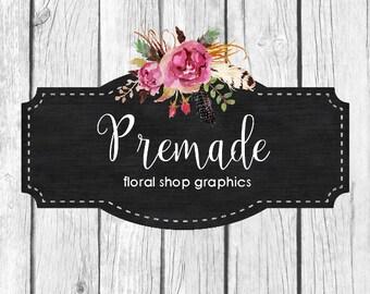 Premade Wood Floral Shop Graphics, Facebook, Etsy Set, Floral Chalkboard Etsy Banner