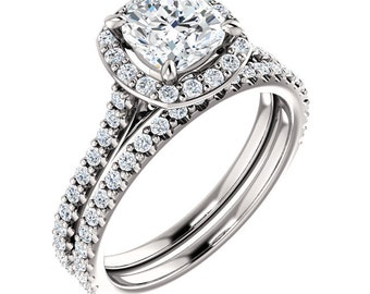 Forever One Cushion Moissanite Halo Diamond Engagement Ring Set in 14k White Gold - ST078221 (Certified Appraisal