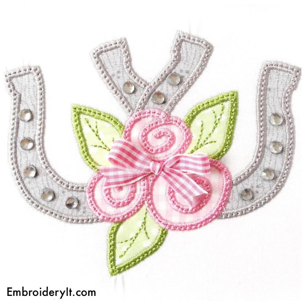 Double horseshoe applique machine embroidery design