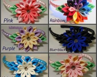 Kanzashi headbands,pink,blue,rainbow,purple