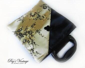 Gold And Black Satin Asian Bag, Oriental Satin Purse, Asian Satin Brocade Handbag