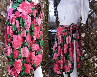 Vintage Jantzen Skirt, Hawaiian, Tropical Floral Wrap Skirt, Wraparound Skirt, Swim Cover Up Sarong, Size M
