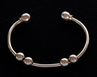 Sterling Silver Charm Cuff bracelet with Removable Ball End