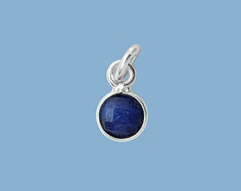 1ea. Tiny 6mm Blue Saphire Bezel Pendant.  Sterling Silver with 5mm Jump Ring Birthstone