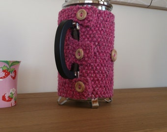Pink hand knitted cafetiere cosy with wooden button detail - Ready to ship