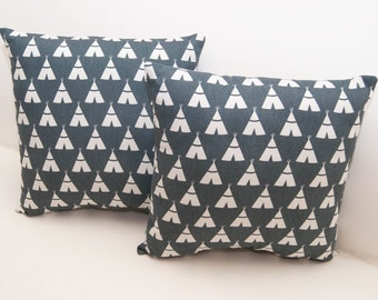 Throw Pillow - Blue And White TeePee Print - Accent Pillow - Decorative Pillow - Kids Pillow - Couch Pillow - Chair Pillow - Tee Pee