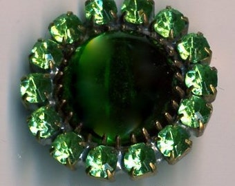 Czech glass rhinestone button - green glass with green rhinestones - size 12, 27 mm RS 70