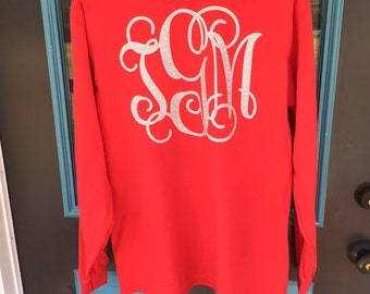 Large Monogram Long Sleeve T-Shirt - Monogrammed Longsleeve Tshirt - Chest Monogram Long Sleeve Tee - Glitter Monogram Long Sleeve T-shirt