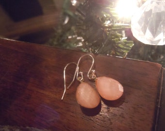 Faceted Coral Earrings with Silver Nickle Free Earring Hooks