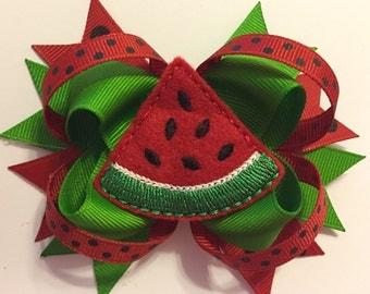 Red Felt Watermelon Slice Loopy Hairbow