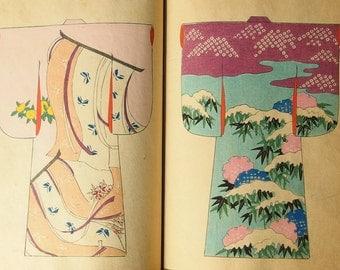 "Japanese Kimono Design Woodblock Prints Book ""SHIKI NO YOSOOI"" 50 designs 1896"