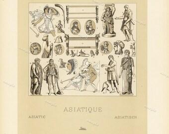 Asiatique 1888 Antique Original Lithograph Decorative Art Middle Ages Renaissance firmin didot Large Print wall art