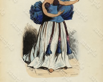 Original Antique French Costume Hand Colored Engraving -Tahiti French Polynesia Dancer