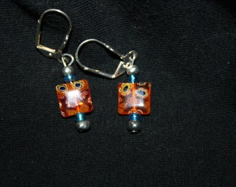 Fused Glass Square Bead Earrings-Orange  with blue and white flowers