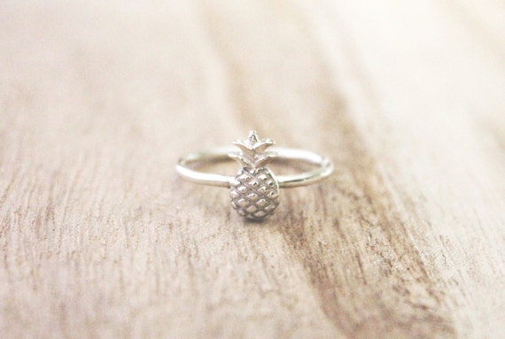 tiny pineapple ring sterling silver ring pineapple ring