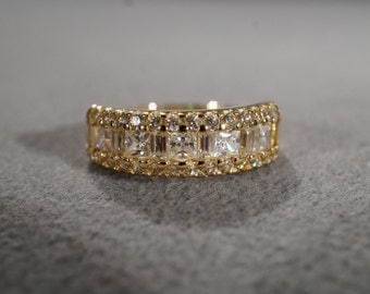 Vintage 14 K Yellow Gold Wedding Band Ring Cubic Zirconia 3 Row Design Multi Round Square Baguette Stacker Style, Size 9