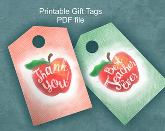 Red Apple Gift Tags with Calligraphy Text, Best teacher tag, Thank you tag, teacher appreciation tags for download