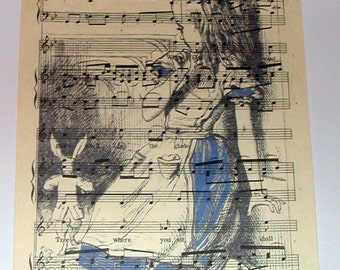 Alice in Wonderland, Vintage Sheet Music, White Rabbit, A4