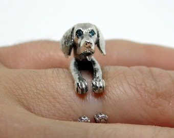Silver Weimaraner Ring, Weim Ring, Grey Ghost Ring, Sterling Silver Ring, Dog Wrap Ring, Animal Ring, Animal Jewelry,  Cute Adjustable Ring