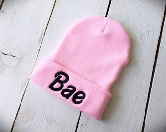 BAE Beanie Embroidered Slouchy Hat Barbie Font
