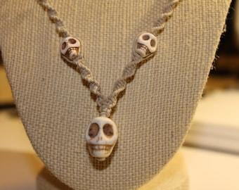 White Skull hemp necklace