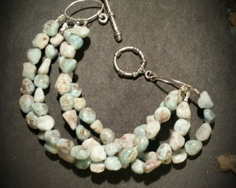 Four Strand Natural Larimar Nugget Bracelet with Sterling Toggle Clasp 8 Inch Four Strand Larimar Nugget Bracelet Multi Strand Bracelet