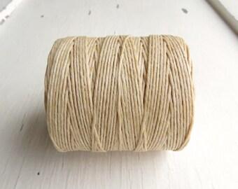 Natural Cream 7 ply Irish waxed linen cord (10 yards) - Irish waxed linen, Irish waxed linen thread, uk thick irish linen cord, cream cord