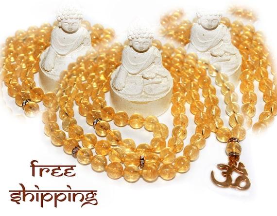 Japa Mala 108 Citrine, Hand Knotted, Gemstone, Citrine 8mm, Prayer Yoga Necklace for Meditation and Mantra - Free Shipping