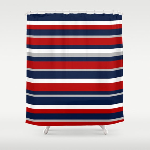 Flag stripe shower curtain red white and blue shower curtain for Blue and white striped bathroom accessories